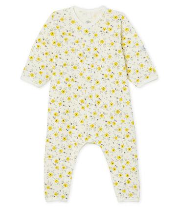 Tutina lunga da bebè in lana e cotone bianco Marshmallow / bianco Multico