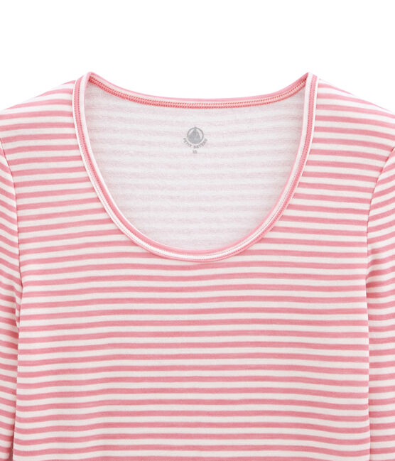 body donna maniche lunghe in lana e cotone rosa Cheek / bianco Marshmallow