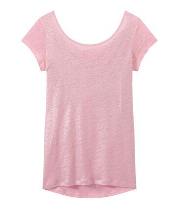 T-shirt donna con scollo ad acquasantiera sul retro in lino iridescente rosa Babylone / grigio Argent