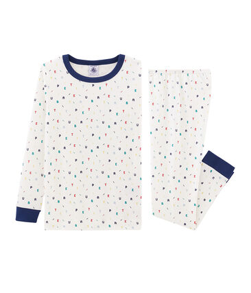 Pigiama bambino a costine modello molto aderente bianco Marshmallow / bianco Multico