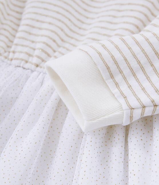 Abito maniche lunghe bambina bianco Marshmallow / giallo Or
