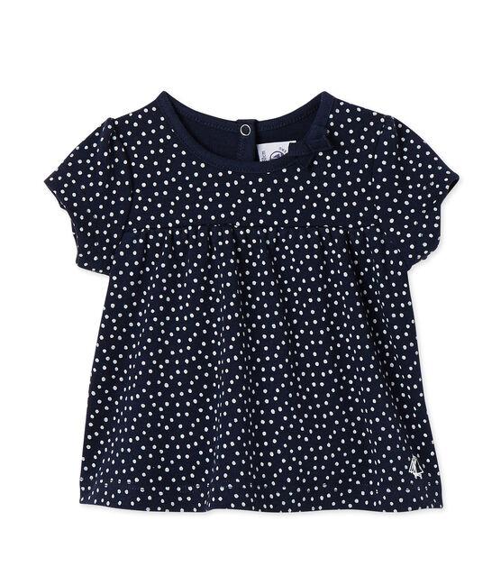 T-shirt per bebè femmina stampata blu Smoking / bianco Lait