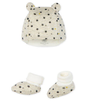 Confezione cuffietta e babbucce bebè maschio in lana e cotone lotto .