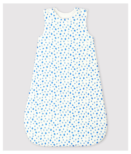Sacco nanna barche bebè in cotone biologico bianco Marshmallow / blu Cool