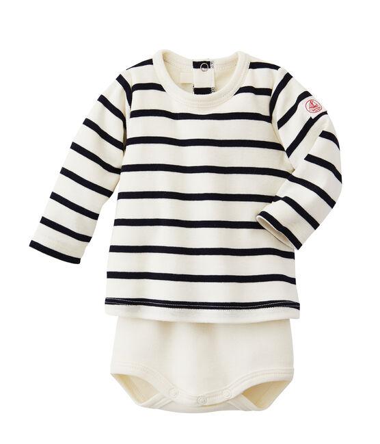 Body t-shirt bebé a righe beige Coquille / blu Abysse