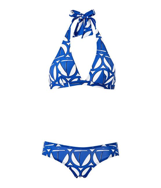 Costume da bagno 2 pezzi donna stampato bianco Marshmallow / blu Perse