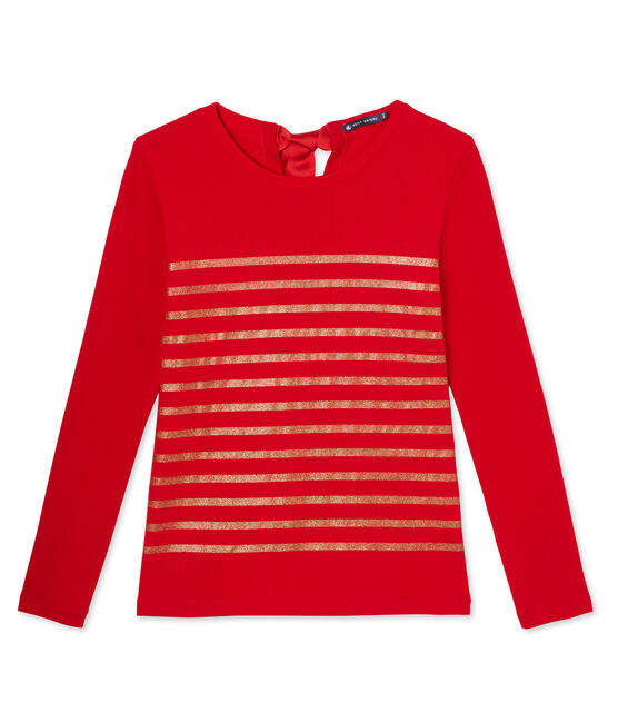 T-shirt da donna con righe paillettes rosso Froufrou