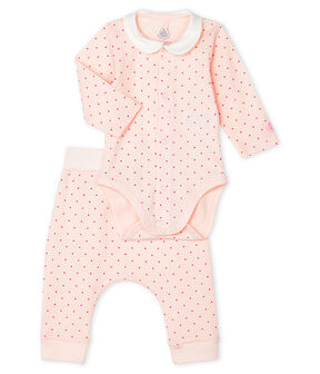 Completo 2 pezzi bebè femmina a costine rosa Fleur / rosa Geisha