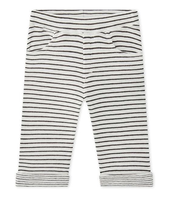 Pantalone bebé bambino rigato bianco Marshmallow / nero City