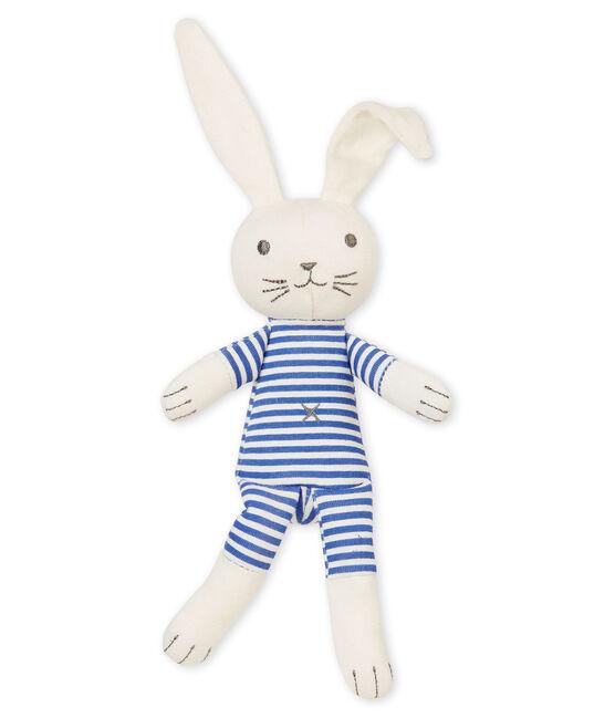 Doudou coniglietto con sonaglino blu Smoking / bianco Marshmallow