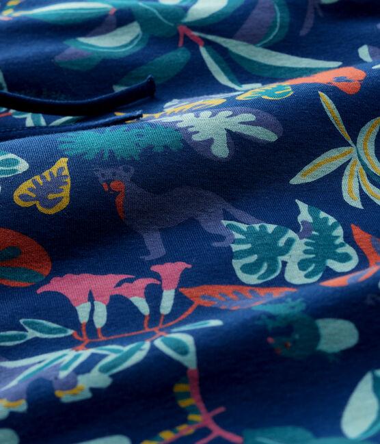 Giroletto fantasia giungla bebè in costina blu Medieval / bianco Multico