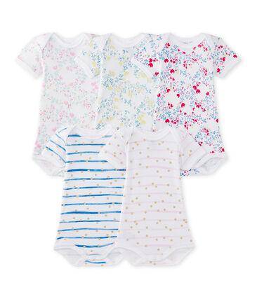 Lotto di 5 bodies per bebé femmina a maniche corte