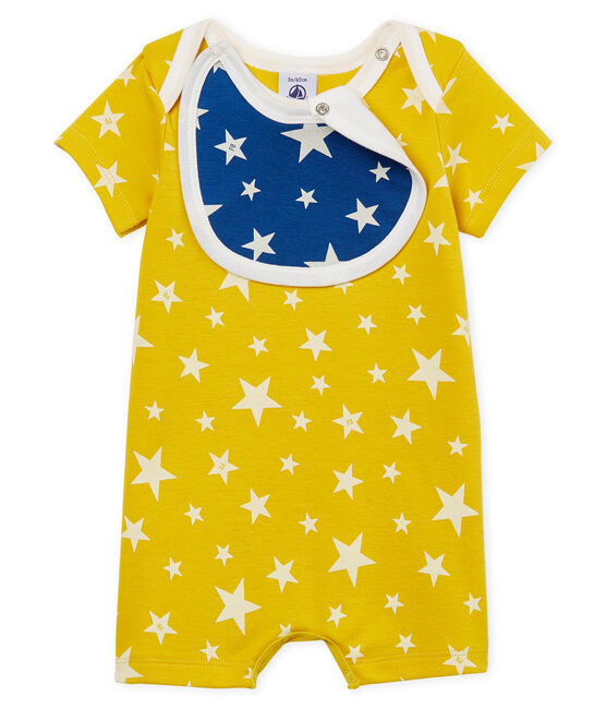 Tutina corta bebè bambino a costine giallo Honey / bianco Marshmallow
