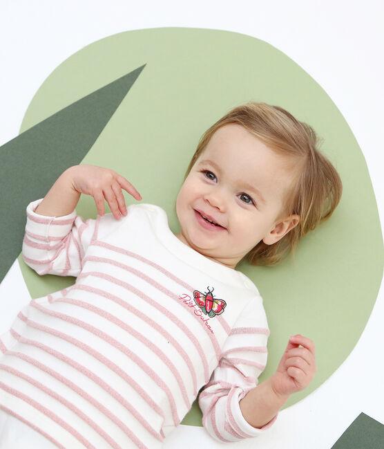 Body marinière bebè bambina bianco Marshmallow / rosa Joli Brillant