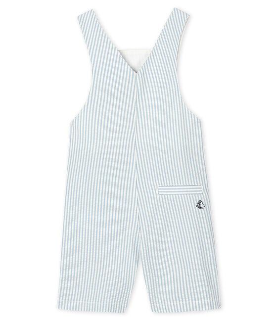 Salopette corta rigata bebè maschietto blu Acier / bianco Marshmallow