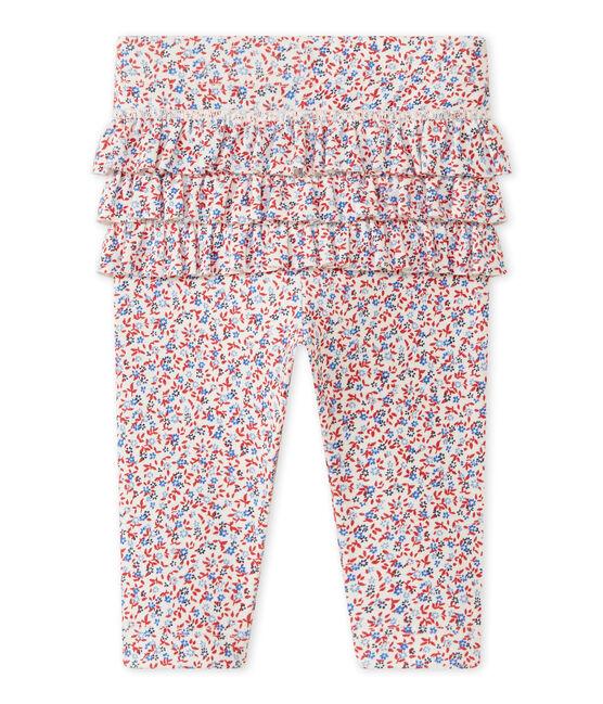 Legging bebé bambina stampato bianco Marshmallow / rosso Terkuit