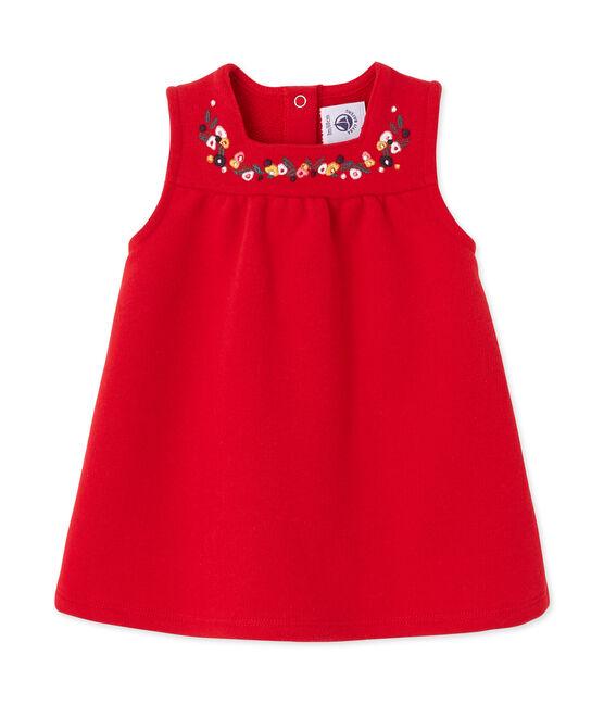 Abito per bebé femmina in molleton ricamato rosso Froufrou
