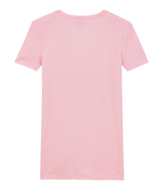 T-shirt donna scollo a V In costina originale 1X1 rosa Babylone