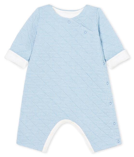 Tutina lunga bebè in tubique trapuntato blu Acier / bianco Marshmallow