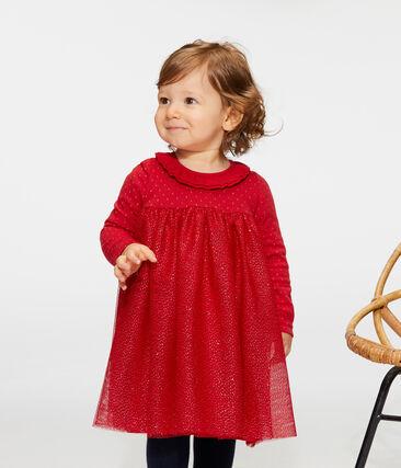 Abito bi-materiale a maniche lunghe da bebè femmina rosso Terkuit / giallo Or
