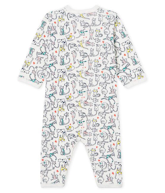 Tutina senza piedi a costine da neonata bianco Marshmallow / bianco Multico