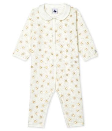 Tutina senza piedi a costine bebè femmina bianco Marshmallow / giallo Or