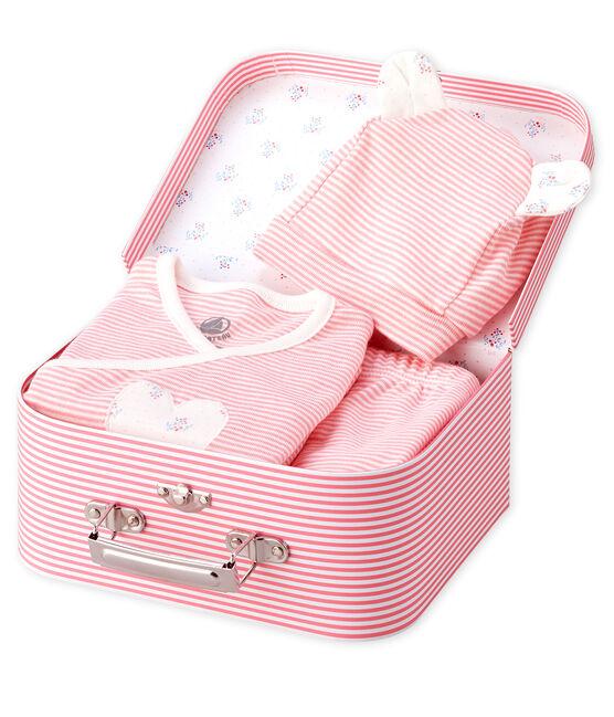 Confezione regalo bebè di tre pezzi a costine rosa Gretel / bianco Marshmallow