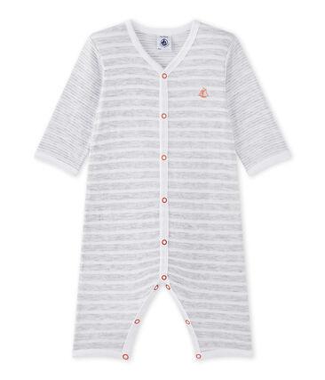 Tutina senza piedi bebè bambino grigio Poussiere / bianco Ecume