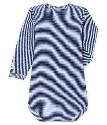 Body maniche lunghe bebè in lana e cotone blu Medieval / bianco Marshmallow