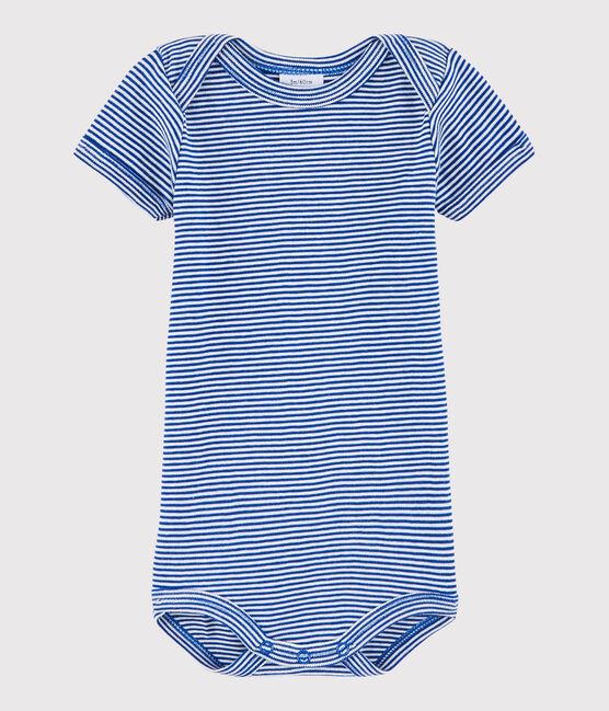 Body manica corta bebè maschietto blu Surf / bianco Lait