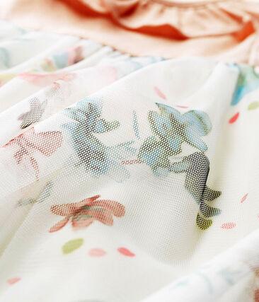 Abito mc bimateriale neonata rosa Pearl / bianco Multico