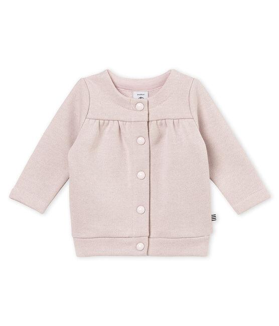 Cardigan per bebé femmina in molleton scintillante rosa Joli / giallo Dore