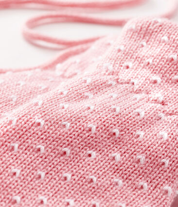 Muffole bebè unisex foderate in pile rosa Charme / bianco Marshmallow