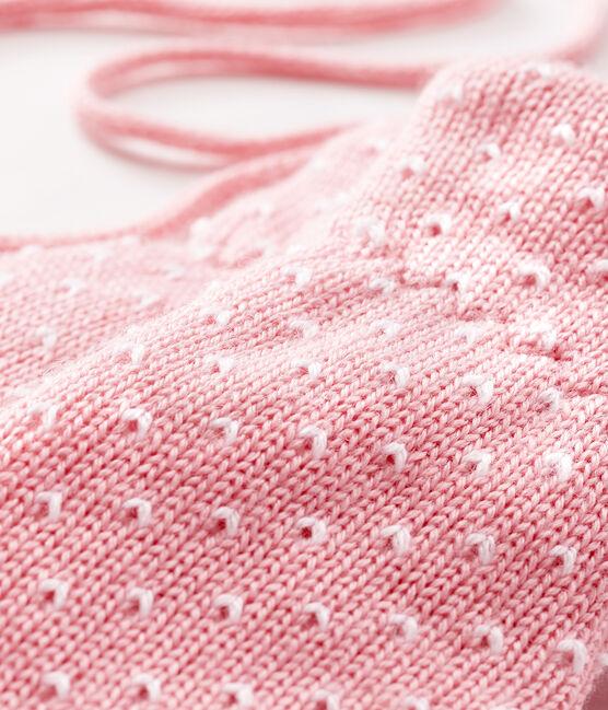 Muffole bebè unisex foderate in pile rosa Charme / bianco Marshmallow