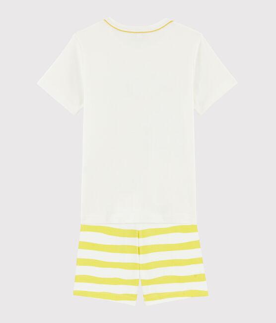 Pigiama corto motivo bradipo bambino a costine bianco Marshmallow / giallo Ble