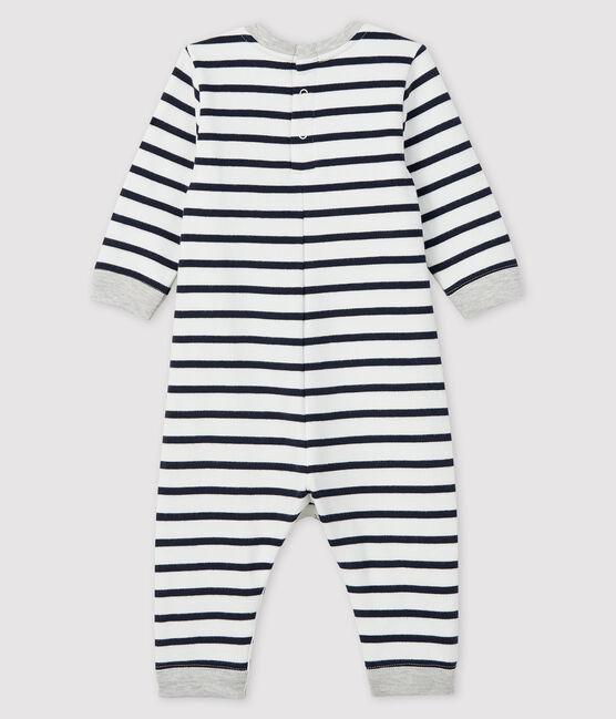Tutina lunga bebè maschio bianco Marshmallow / blu Smoking