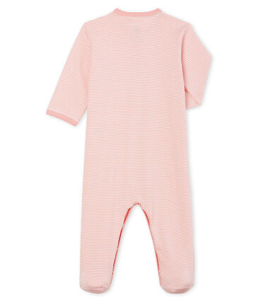 Tutina bebè femmina a costine rosa Charme / bianco Marshmallow