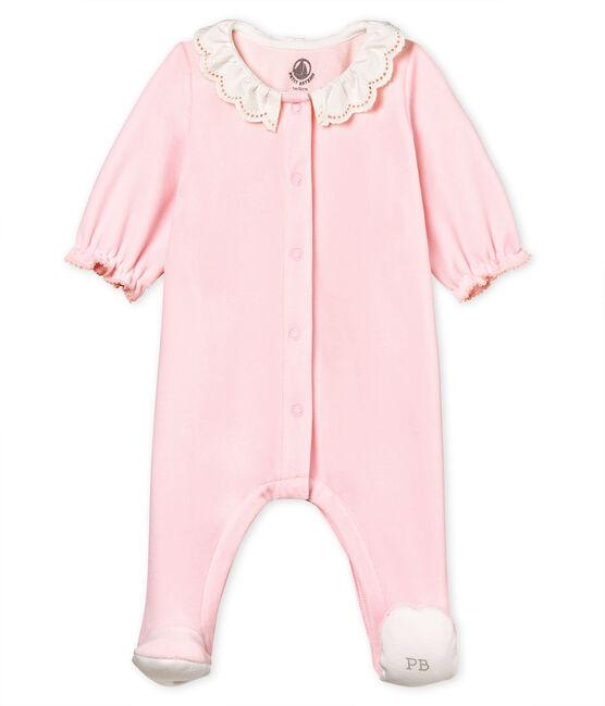 Tutina pigiama bebè femmina in velluto di cotone VIENNE