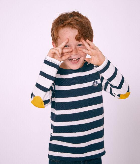Marinière bambino bianco Marshmallow / blu Smoking