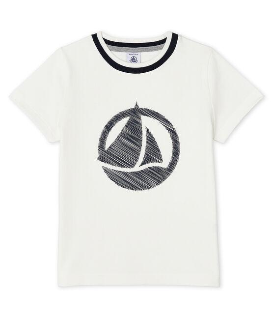 T-shirt bambino maniche corte bianco Marshmallow