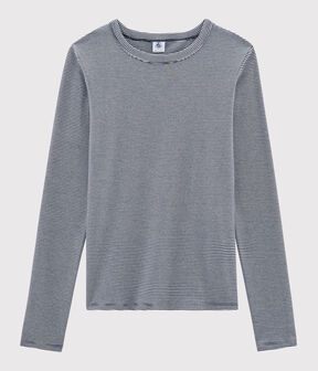 T-shirt iconica scollo rotondo Donna blu Smoking / bianco Marshmallow