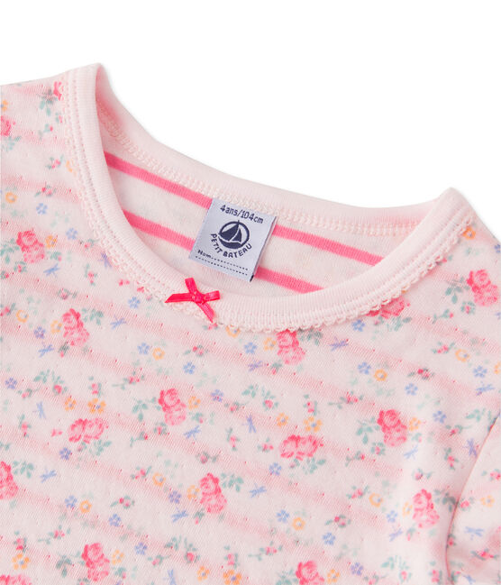 Pigiama per bambina in tubique reversibile rosa Vienne / rosa Rose