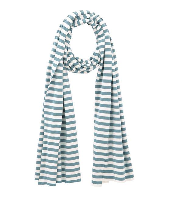 Sciarpa donna a righe blu Fontaine / bianco Marshmallow