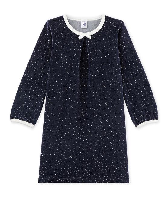 Chemise de nuit fille en bouclette velours blu Smoking / grigio Argent