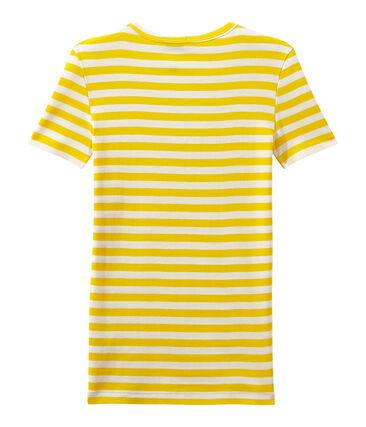 T-shirt donna scollo V in costina originale 1x1 rigata giallo Shine / bianco Marshmallow