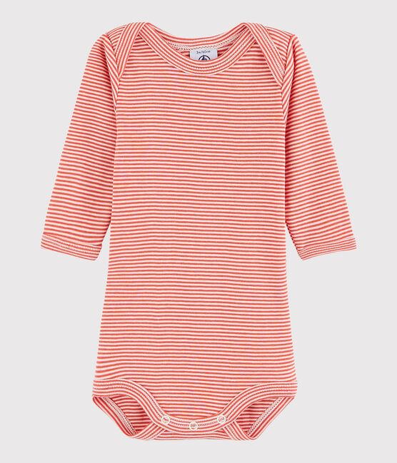 Body manica lunga bebè unisex arancione Oursin / bianco Marshmallow