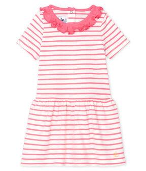 Abito rigato con colletto rotondo arricciato bebè femmina bianco Marshmallow / rosa Cupcake