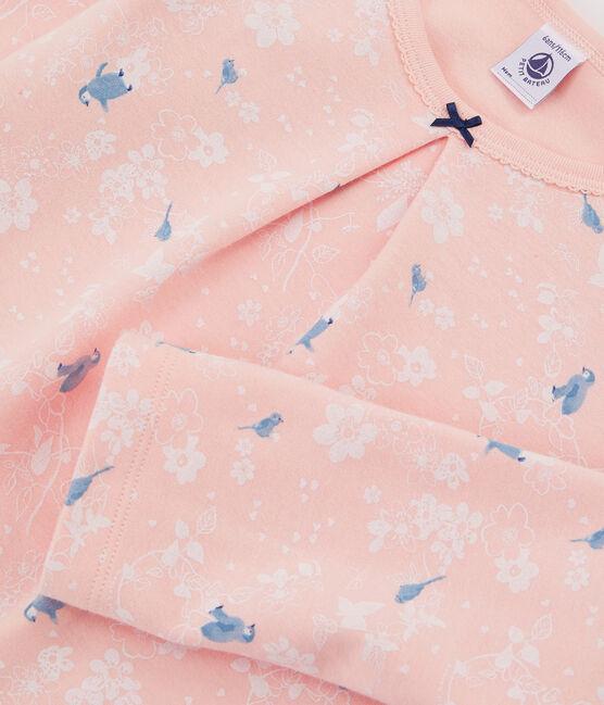 Pigiama rosa con fantasia pinguino bambina in jersey double face rosa Minois / bianco Multico