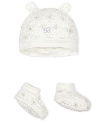 Confezione cuffietta e babbucce bebè in tubique lotto .