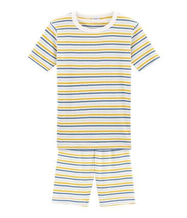 Pigiama corto bambino a costine modello molto aderente bianco Marshmallow / bianco Multico